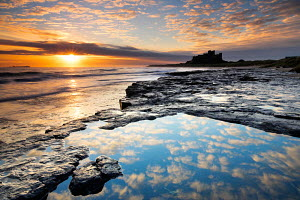 Sunrise on coast near Bamburgh Castle, Northumberland, England  -  Adam Burton
