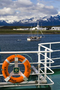 """The harbour at Ushuaia, viewed from the deck of the """"Akademik Ioffe"""" cruise ship, Patagonia, Argentina, South America December 2007 - Adam Burton"""