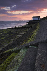Sea defences and the old Lifeboat station at Lepe Beach, Hampshire, England  -  Adam Burton