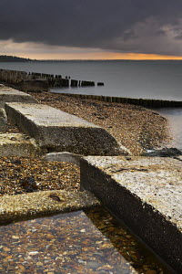 Remains of D-Day preparation structures on Lepe  beach, New Forest National Park, Hampshire, England  -  Adam Burton