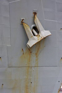 """Anchor detail on Aircraft Carrier """"HMS Illustrious"""" at Liverpool, UK. October 2008  (All non-editorial uses must be cleared individually) - Graham Brazendale"""