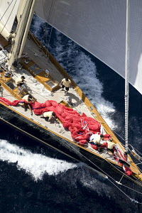 """Aerial view of """"Hetairos"""" designed by King/Abeking & Rasmussen, length 39.6m sailing upwind. The Superyacht Cup, Palma de Mallorca, June 2007. - Richard Langdon"""