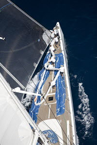 """""""Visione"""" designed by Reichel Pugh and Baltic, length 45.5m, sailing upwind. The Superyacht Cup, Palma de Mallorca, June 2007. - Richard Langdon"""