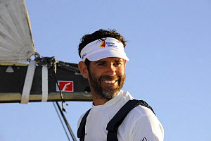 """Skipper Fernando Echavarri (Spain) aboard """"Telefonica Black"""" arriving in Cape Town in 8th (last) place with a broken rudder and bow sprit, November 2008. Volvo Ocean Race 2008-09. For EDITORIAL USE on...  -  Rick Tomlinson"""