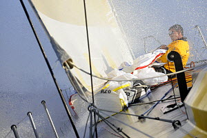 """Team Russia"" bowman Michael Joubert during in-port race training in Alicante, Spain, for the 10th Volvo Ocean Race 2008-2009. For EDITORIAL USE only. - Rick Tomlinson"