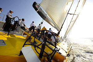 """""""Team Russia"""" during in-port race training in Alicante, Spain, for the 10th Volvo Ocean Race 2008-2009. For EDITORIAL USE only.  -  Rick Tomlinson"""
