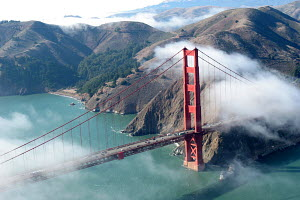 Low clouds clearing around the Golden Gate Bridge, San Francisco Bay, California - Sandra Cannon