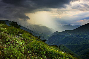 A spring storm in the Valnerina near Meggiano, Umbria, Italy  -  David Noton