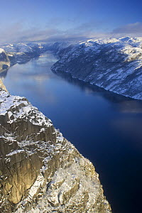 The Lysefjorden in winter viewed from the Pulpit Rock, Forsand, Rogaland, Norway. November  -  Roy Mangersnes