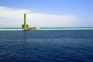 Sanganeb lighthouse and atoll in the Red Sea, Sudan, situated 28 km to the NE of Port Sudan. One of the best diving locations in the Red Sea.  -  Francis Abbott