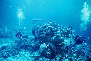 Truck from the wreck of The Bluebelt, a cargo ship owned and operated by Ahmed Mohammed Baaboud of Jeddah, Saudi Arabia. Sunk 5th December 1977  -  Francis Abbott