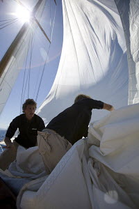 """Crew in action on-board """"The Blue Peter"""" which was designed by Alfred Mylne and built by W. King & Sons of Burham-on-Crouch, length 19.6m. Panerai Classics, Sardinia, September 2007. - Richard Langdon"""