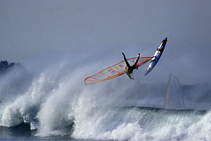 Windsurfer wiping out while riding waves at La Torche, Brittany, France 1998.  -  Benoit Stichelbaut