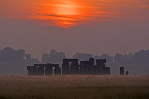 Stonehenge at sunrise on the 21st September, the autumn equinox, Wiltshire, UK  -  David Kjaer