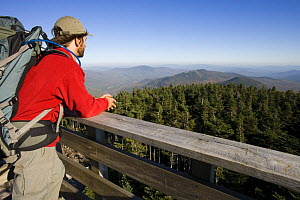Man looking towards Sunday River Whitecap from the fire tower on the summit of Old Speck Mountain in Grafton Notch State Park, Maine, USA. model released - Jerry Monkman