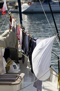 Washing hanging out to dry onboard a cruising yacht before the ARC (Atlantic Rally for Cruisers). Las Palmas, Gran Canaria, 23rd November 2008. - Richard Langdon