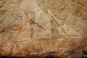 Aboriginal rock art  showing sailing boat, Nanguluwur Gallery, Nourlangie Ranges, Kakadu National Park, Northern Territory, Australia - Jouan & Rius