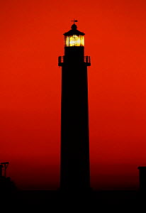 Lighthouse at dusk in the Gulf of Gujarat, North West India  -  Michael Pitts