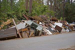 Damaged belongings cleared from homes near Slidell, on the shore of Lake Pontchartrain, Louisiana, USA, following extensive damage from flooding caused by Hurricane Katrina, August 2005.  -  John Cancalosi