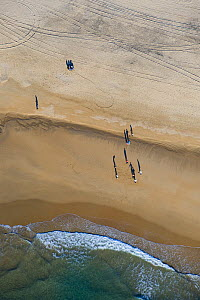 Aerial view of people on a beach with very long shadows, near Cadiz, Spain, February 2008  -  Niall Benvie