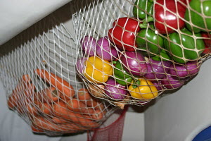 Peppers, onions and carrots hanging in nets from the saloon ceilings ready for offshore leg, Clipper Race, April 2006. - Ingrid Abery