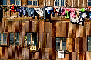 Laundry hanging out to dry. Valparaiso, Chile, 2008. - Onne van der Wal