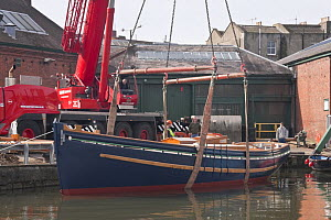 "Launching Bristol Pilot Cutter ""Morwenna"", built by RB Boatbuilders, Underfall Yard, Bristol Floating Harbour. 16th March 2009.  -  Merryn Thomas"