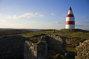 Ruined cottages and the Daymark, erected in 1683. St.Martin's, Isles of Scilly December 2008.  -  Merryn Thomas