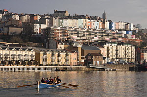 Men's crew practicing in Pilot Gig ^Isambard^ on Bristol Floating Harbour in the morning, February 2009.  -  Merryn Thomas
