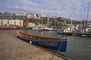 Pilot Gig ^Isambard^ moored alongside jetty in Bristol Floating Harbour marina. February 2009.  -  Merryn Thomas