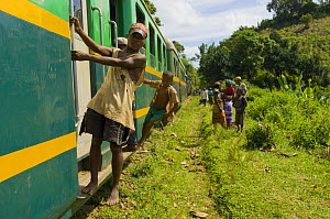People riding on and watching the train between Manakara and Fianarantsoa, the only remaining train in Madagascar - Inaki Relanzon