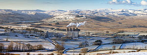 Shap Fell, eastern Lake District fells and Cemex cement works and limestone crushing plant, Cumbria, UK. January 2009  -  Nick Garbutt