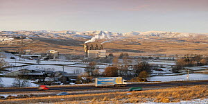 Shap Fell, eastern Lake District fells, M6 motorway and Cemex Cement Works and Limestone Crushing Plant, Cumbria, UK. January 2009  -  Nick Garbutt