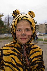 Tiger Conservation: Russian children learning about tiger conservation, Tiger Eco-Centre, Novopokrovka, northern Primorye, Russian Far East  -  Mark Carwardine