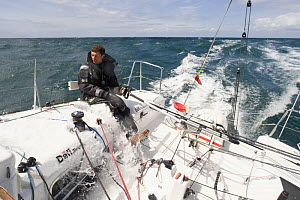 """Figaro season 2009 - """"Defi Mousquetaires"""", skippered by Thomas Rouxel, practicing off the Glenan Islands, May 2009. - Benoit Stichelbaut"""