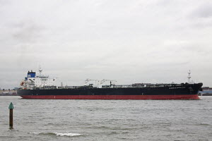 """Crude oil tanker """"Overseas Everglade"""" on River Mersey heading towards Tranmere oil terminal. Merseyside, England, UK. ^^^She was built in 2008.  -  Norma Brazendale"""