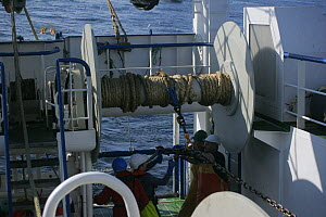 Crewmen taking turns out of twisted trawl bridles aboard a fishing trawler, North Sea, September 2008.  -  Philip Stephen