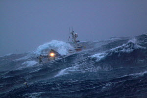 Fishing vessel in heavy seas, North Sea, April 2009.  Property released. - Philip Stephen