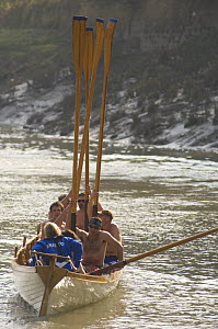 """""""Young Bristol"""" crew raising their oars, celebrating winning the """"Bristol Challenge"""" race along the Avon Gorge, March 21st 2009. - Rob Cousins"""