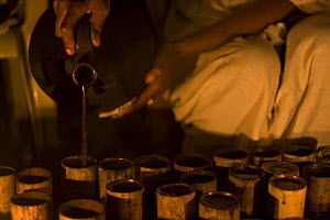 Coffee (Coffea arabica) poured from traditional terracotta pitcher into bamboo cups during ceremony, Bonga, Kaffa Zone, Southern Ethiopia, East Africa December 2008 - Bruno D'Amicis