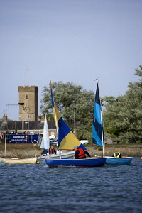 Scows getting ready for a sail on the river Yar, Yarmouth, Isle of Wight. May 2009. - Richard Langdon