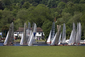 Fleet of Thames A Raters about to start during the Bourne End Week at the Upper Thames Sailing Club, May 2009. - Richard Langdon