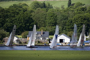 Fleet of Thames A Raters racing on the Thames during the Bourne End Week at the Upper Thames Sailing Club, May 2009. - Richard Langdon
