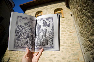 Old drawing of landscape and cliff monasteries, Meteora, Greece, October 2008 - Wild Wonders of Europe / Radisics