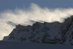 Snow blowing over mountains, Gran Paradiso National Park, Italy, November 2008 - Wild Wonders of Europe / E Haarberg