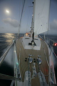 """Amel 54 ketch """"Hollis"""" on delivery from Martinique, Caribbean, sailing at night with navigation lights on. Property released, 2006.  -  Billy Black"""