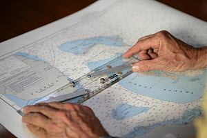 """Navigating with paper charts aboard Amel 54 ketch """"Hollis"""" on delivery from Martinique, Caribbean. 2006.  -  Billy Black"""