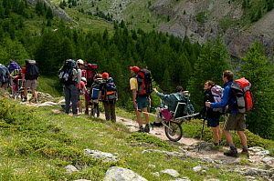 Hiking with handicapped people in the Alps, France, July 2008  -  Jean E. Roche