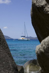 Yachts moored off The Baths, Virgin Gorda with Tortola in the background. April 2009. - Ingrid Abery