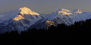 Mountain peaks with snow in Madriu Valley seen from Arinsal, Madriu-Perafita-Claror Valley World Heritage Area, Andorra, February  -  Oriol Alamany